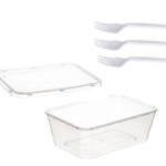 "Snack Pack 4 - 1L Plastic Container & white ""Trident"" fork"